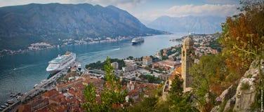 Panorama de la bahía de Kotor Imágenes de archivo libres de regalías