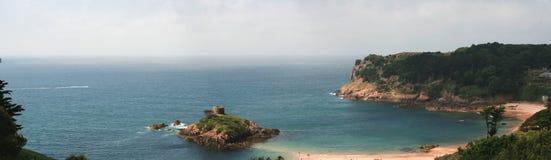 Panorama de la bahía de Portelet Imagenes de archivo