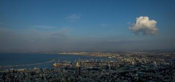 Panorama de la baie de Haïfa, Israël photo stock