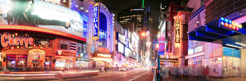 Panorama de la calle de New York City Manhattan 42.a Imagen de archivo libre de regalías