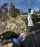 Panorama de la cascada de Radule en la isla de Córcega con dos piscinas Fotografía de archivo