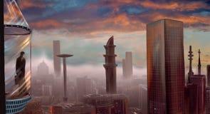Panorama de la ciudad stock de ilustración