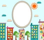 Panorama de la ciudad con el condominio coloreado con las imágenes Imagen de archivo libre de regalías