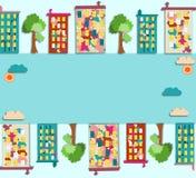 Panorama de la ciudad con el condominio coloreado con las imágenes, ilustración del vector