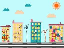 Panorama de la ciudad con el condominio con las imágenes Foto de archivo