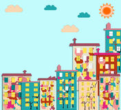 Panorama de la ciudad con el condominio con las imágenes ilustración del vector