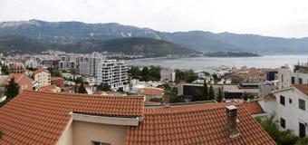 Panorama de la ciudad de Budva en Montenegro Fotografía de archivo libre de regalías