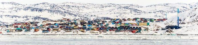 Panorama de la ciudad de Ilulissat Foto de archivo libre de regalías