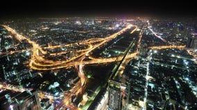 Panorama de la ciudad de la noche Tailandia, Bangkok Foto de archivo