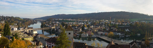 Panorama de la ciudad de Schaffhausen (Suiza) Imagen de archivo libre de regalías