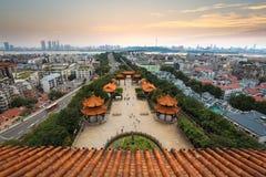 Panorama de la ciudad de Wuhan Fotos de archivo libres de regalías