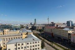 Panorama de la ciudad industrial de Ekaterimburgo, 10 09 2014 Imágenes de archivo libres de regalías