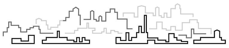 Panorama de la ciudad, paisaje industrial urbano ilustración del vector