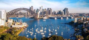 Panorama de la ciudad de Sydney, paisaje urbano de Nuevo Gales del Sur imagenes de archivo
