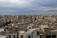 Panorama de la ciudad de Trípoli, Líbano Imagen de archivo
