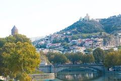 Panorama de la ciudad vieja de Tbilisi Imagen de archivo libre de regalías