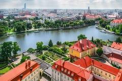 Panorama de la ciudad vieja en Wroclaw Fotos de archivo