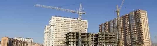 Panorama de la construction du complexe des bâtiments Images stock