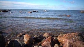 Panorama de la costa pedregosa del golfo de Finlandia en día soleado metrajes
