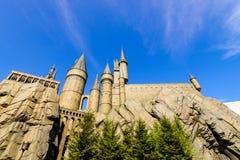 Panorama de la escuela de Hogwarts de Harry Potter imagenes de archivo