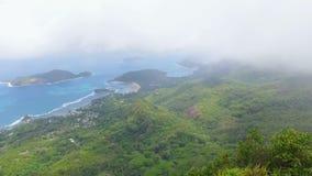 Panorama de la forme Morne Blanc View Point, Seychelles 1 de Mahe Island banque de vidéos