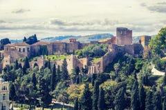 Panorama de la fortaleza de Alcazaba Gibralfaro en Málaga Foto de archivo