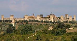 Panorama de la fortaleza Monteriggioni Fotos de archivo libres de regalías