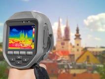 Panorama de la grabación de Zagreb con la cámara termal imagenes de archivo