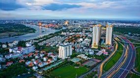 Panorama de la impresión de la ciudad de Ho Chi Minh fotos de archivo