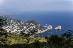 Panorama de la isla de Capri de Monte Solaro, en Anacapri Imagenes de archivo