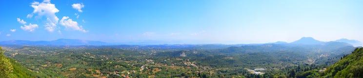 Panorama de la isla de Corfú, Grecia Fotos de archivo