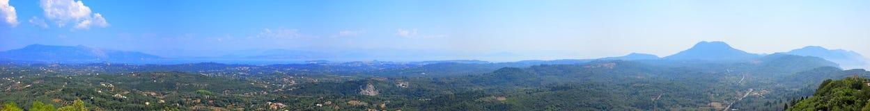 Panorama de la isla de Corfú, Grecia Fotos de archivo libres de regalías