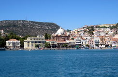 Panorama de la isla del Griego de Lesbos Mitilini Imagen de archivo