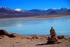 Panorama de la laguna de las montañas y del lago de Bolivia Fotos de archivo libres de regalías
