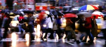 Panorama de la lluvia del Times Square Fotos de archivo