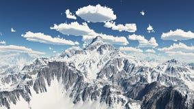 Panorama de la montaña con las nubes agradables del tiempo ilustración del vector
