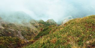 Panorama de la montaña con niebla Fotografía de archivo