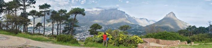 Panorama de la montaña de Ciudad del Cabo y del vector Imagen de archivo libre de regalías