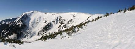 Panorama de la montaña de la nieve Fotos de archivo libres de regalías