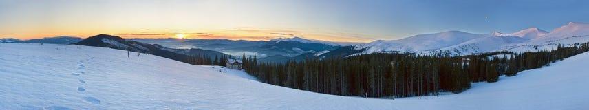 Panorama de la montaña de la salida del sol Imagen de archivo