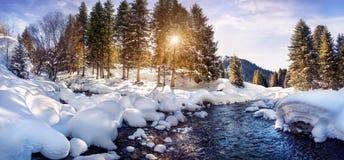 Panorama de la montaña del invierno fotos de archivo libres de regalías