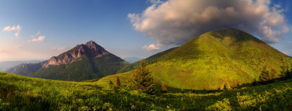 Panorama de la montaña en Eslovaquia Imágenes de archivo libres de regalías