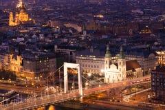 Panorama de la noche de Budapest Imágenes de archivo libres de regalías