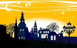 Panorama de la noche de la ciudad Ilustración del Vector
