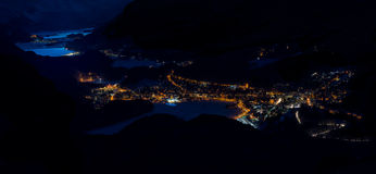 Panorama de la noche de St Moritz Imágenes de archivo libres de regalías