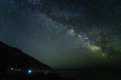 Panorama de la noche del paisaje con la vía láctea y la casa Foto de archivo libre de regalías
