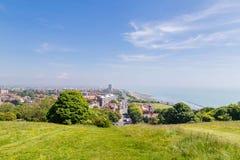 Panorama de la opinión de la ciudad de Eastbourne, Reino Unido Foto de archivo