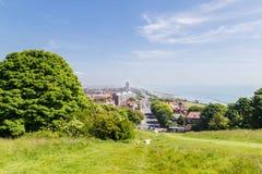 Panorama de la opinión de la ciudad de Eastbourne, Reino Unido Imágenes de archivo libres de regalías
