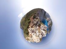 Panorama de la playa de Navagio Foto de archivo