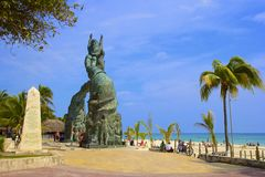 Panorama de la playa del Playa del Carmen, México Imágenes de archivo libres de regalías